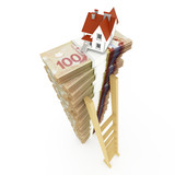 Canadian dollar stack on white background