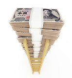 Japanese yen stack with ladder