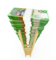 Australian dollar stack with ladder