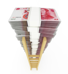 Chinese currency stack with ladder