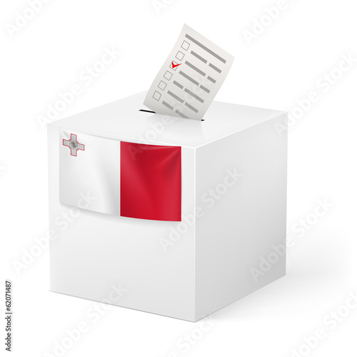 Ballot box with voting paper. Malta