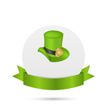 Greeting card with hat and ribbon for St. Patrick's Day