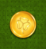 Golden coin with three leaves clover. Grunge St. Patrick's backg
