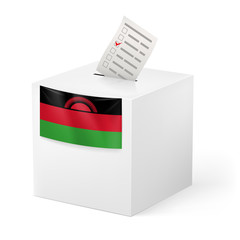 Ballot box with voting paper. Malawi