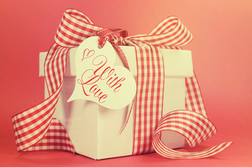 Red vintage red check gift for Mothers Day or special occasion