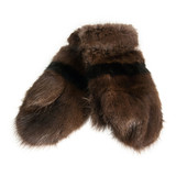 fur mittens isolated on white background