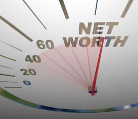 Net Worth Speedometer Rising Increasing Total Wealth Money