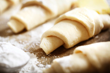 Croissants dough freshly prepared for baking