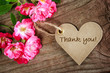 Heart shaped thank you card