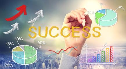 Success concept text and cartoon