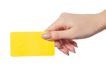 Businesswoman's hand holding blank business card