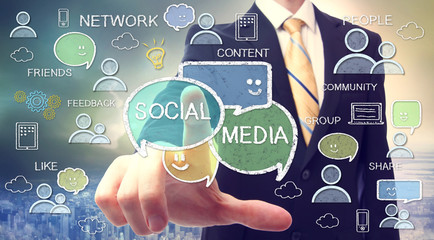 Businessman with social media concepts