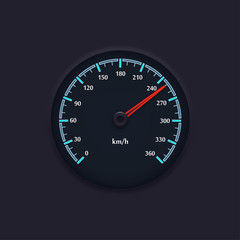 Speedometer with blue markings