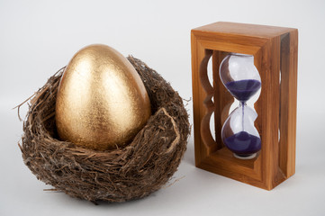 Golden egg and hourglass