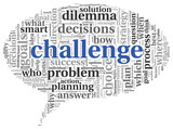 Challenge concept in word tag cloud