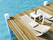 daybed on wood floor in the sea, travel of summer concept