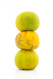 Stack of mandarin orange on white background