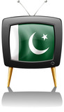A television with the flag of Pakistan
