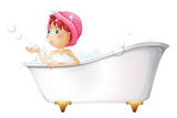 A young lady at the bathtub