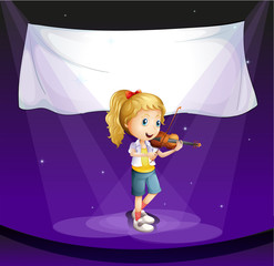 A girl performing at the stage with an empty banner