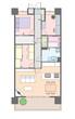 3LDKマンションの見取り図と家具の配置