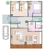 Fototapety 一戸建て住宅の見取り図と家具の配置