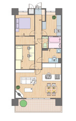 3LDKマンションの見取り図
