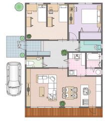 一戸建て住宅の見取り図と家具の配置