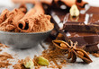 Spices and Broken chocolate bar