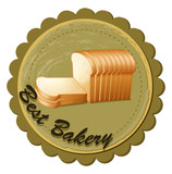 A best bakery label with fresh sliced breads