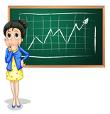A businesswoman thinking in front of the blackboard