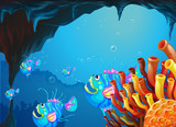 A cave under the sea with a school of fish