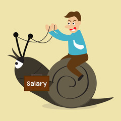 Man riding snail, salary concept.