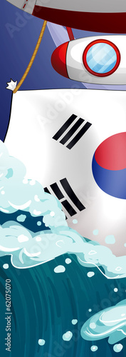 The flag of Korea and the giant waves
