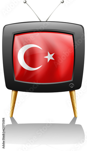 A television wit the flag of Turkey