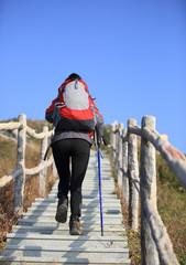 woman hiker climbing stairs to mountain peak