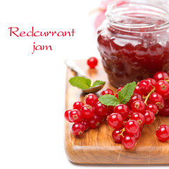 berry jam and fresh red currants, isolated, selective focus