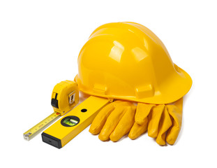 hard hat, leather gloves and tools
