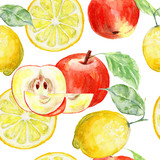Watercolor seamless background fresh lemon and red apples
