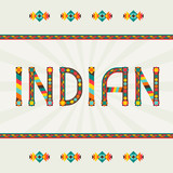 Indian. Design word with ornament.