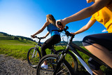 Healthy lifestyle - young women biking