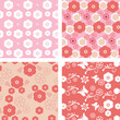 set floral pattern blossom cherry