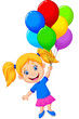 Young girl flying with balloon - 62078456