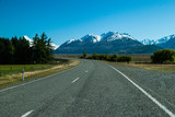 Straight empty road to Mount, New Zealand