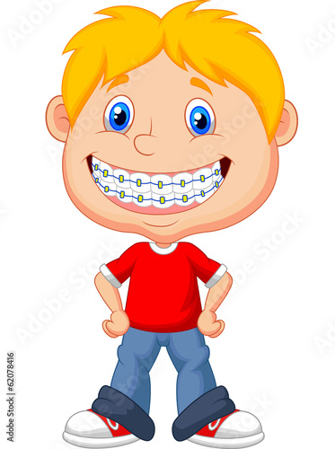 Little boy with brackets