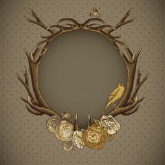 Vintage roses vector card with deer antlers