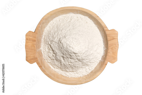 Wooden Bowl With Wheat Flour Powder Isolated On White