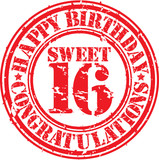 Happy birthday sweet 16 grunge rubber stamp, vector illustration