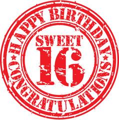 Happy birthday sweet 16 grunge rubber stamp, vector illustration