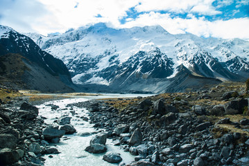 Beautiful view and glacier in Mount Cook National Park, South Is